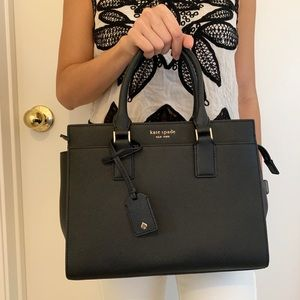 KATE SPADE CAMERON MEDIUM SATCHEL BLACK LEATHER